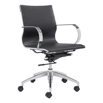 ZUO Modern Glider 100374 Low Back Office Chair Black