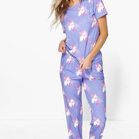 Mya Unicorn Print Top And Jogger PJ Set