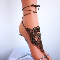 Crochet Barefoot Sandals Beach Wedding Shoes Festival Party Cluwear Womens Accessories Foot Jewelry Beach Sandals Womens Brown