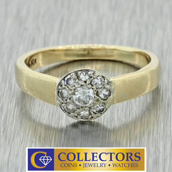 1940s Antique Vintage Estate 14k Solid Yellow Gold .30ctw Diamond Band Ring