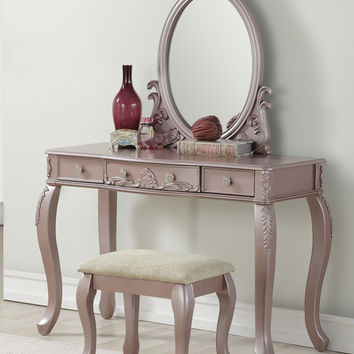Poundex F4169 3 pc rose gold finish wood make up bedroom vanity set curved legs stool and mirror