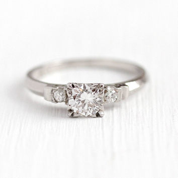Vintage Diamond Ring - Platinum 1/2 Carat Diamond 40s Engagement - 1940s Size 6 1/4 Illusion Head Promise .56 CTW Fine Jewelry w/ Appraisal