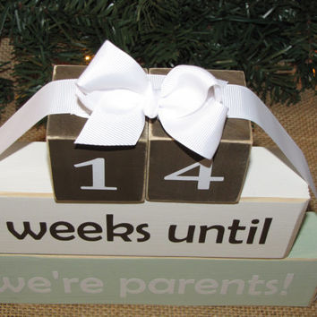 "Pregnancy announcement countdown. Baby Shower gift. Pregnancy announcement -""weeks until we're parents"". Mother's Father's Day."