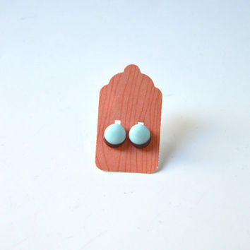 Stud Earrings - Robins Egg Pale Blue and Brown Stud Earrings - Tiny Stud Earrings - Post Earring - Colorful Earrings - Handmade Enamel Studs