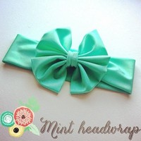 Mint green big bow headwrap from Bowlicious Divas Bowtique