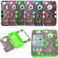 JUSTING@Apple iPhone 5C 3-piece Triple Layer Hybrid Real Tree Camo Hybrid Hard Case Cover (Green) by JUSTING