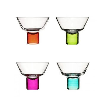 Colorful Stemmed Martini Glasses - Set of 4