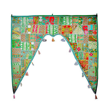"46x42"" Huge Decorative Door Valance, Indian wall hanging, toran, door valance, ethnic wall decor, door hanging, tapestry, window valance,"