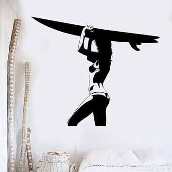 Vinyl Wall Decal Surfing Girl Board Surfer Extreme Sports Stickers Unique Gift (ig4544)