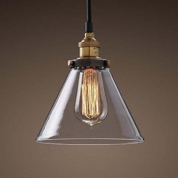 Edison Pendant Lighting Hanging Industrial Vintage Style Glass Fixture Brass Finish (ED266P)