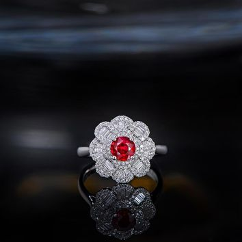 Caimao 0.7ct Ruby Red Round 18kt White Gold 0.58ct Diamond Cluster Engagement Ring for Women Antique