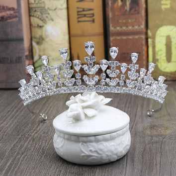 Cool Vintage Baroque Queen King Bride Tiara Crown For Women Cubic zirconia Wedding Tiaras and Crowns Hair Jewelry Accessories H-008AT_93_12