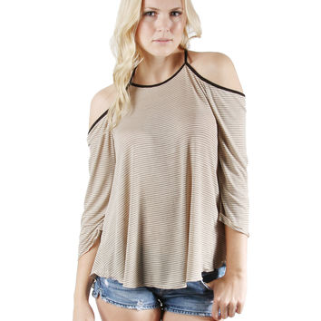 Classic DREAM SUPPLY Off shoulder 3/4 sleeve Cami Tank Top - Khaki