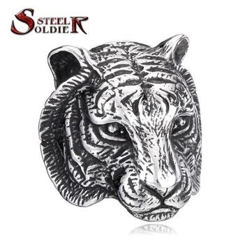 VONG2W Steel soldier Domineering Tiger Head Ring Stainless Steel Unique Animal Ring For Man Biker Punk Style BR8-161