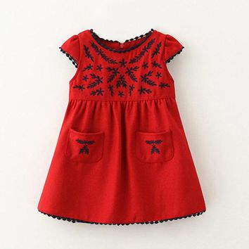 Spring Fall Girls Dress Embroidery Flannel Princess Girl Dress Brand Dresses for Girls Children's School Dress 2-6 Years old