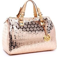 MICHAEL Michael Kors Grayson Large Monogram Mirror Metallic Satchel:Amazon:Shoes