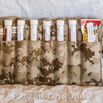 Personalized Meal Improvement Kit - Desert Digicam - Deployed Military, Army, Navy, Air Force, Marines.  Seasonings in a unique roll up kit