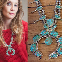 RARE Vintage Faux Green Squash Blossom Necklace | bohemian turquoise Jewelry | 70s Navajo Sterling Native Tribal Boho Chunky Naja Necklace