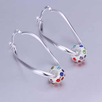 Sterling Silver Rainbow Ball Hoop Earring