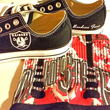 """Converse Low Black """"Oakland Raiders"""" + FREE SHIPPING - by Bandana Fever"""