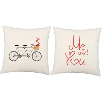 Me and You Bicycle Pillows - Couples Throw Pillows, Valentines pillows, heart pillows, bicycle print, bicycle design, anniversary gift