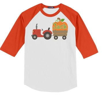 Tractor Pumpkin on Personalized T-Shirt