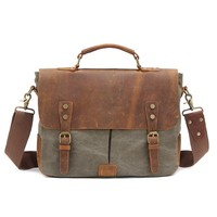 "Kattee Vintage Canvas + Real Leather Messenger Bag Tote, Fit 14"" Laptop (Army Green)"