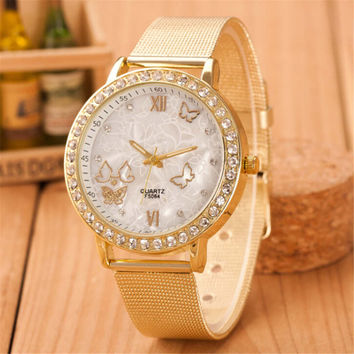 GIRL WOMEN FASHION GOLD WATCHES WITH DIAMOND CASUAL SPORTS WATCH GIFT 393