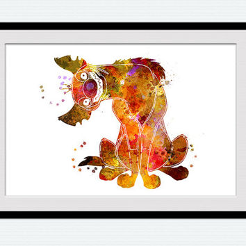 Lion King Decor Disney Watercolor Poster Art Print Shenzi Hyena Home