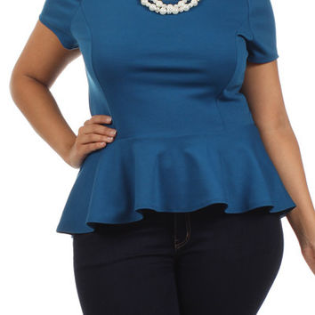 PEARL NECKLACE PEPLUM TOP - TEAL - PLUS SIZE - 1X - 2X - 3X