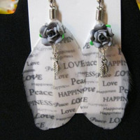 Feather Earring Grey and White with Peaceful Sayings,Fimo Roses, Silver leaves, Handcrafted