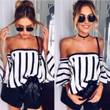 Sexy Strapless Stripe Horn Sleeve Show thin Tops