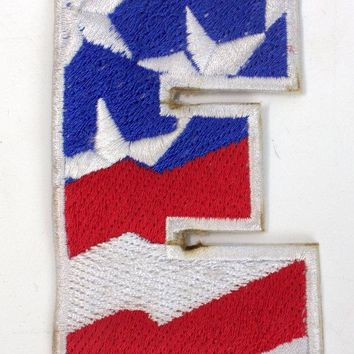 E Alphabet Letters of US Flag Iron on Small Patch for Biker Vest