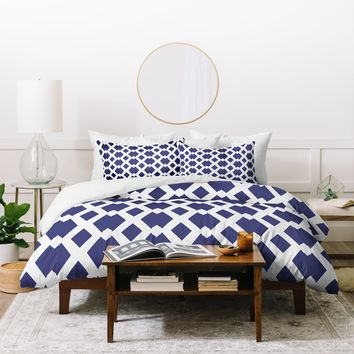 Lisa Argyropoulos Daffy Lattice Navy Duvet Cover