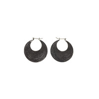 Chand Bali Small Disk Sterling Silver Hoop Earring