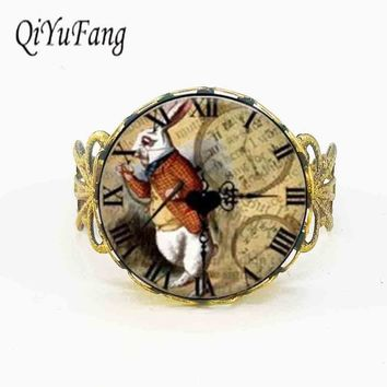 Qiyufang ring Alice in Wonderland rabbit like watch rings Fairytale girl Jewelry women mens vintage antique charms friends gift