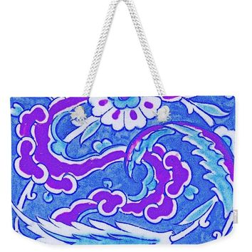 An Ottoman Iznik Style Floral Design Pottery Polychrome, By Adam Asar, No 24b - Weekender Tote Bag