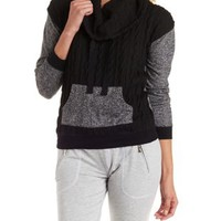 Black Cable Knit Cowl Neck Pullover by Charlotte Russe
