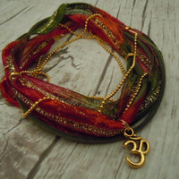 Om Anklet, Ribbon Wrap Anklet With Crimson, Olive, Pink & Gold Sari Ribbon - Bohemian Yoga Jewelry