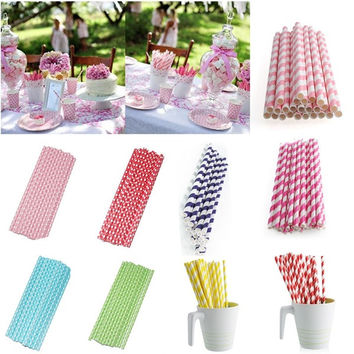 New 25*Muliti Color Biodegradable Paper Drinking Straws Party Wedding Decoration = 1945843652