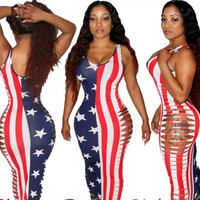 American Flag Print Side Cut Out Bodycon Dress
