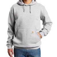 Carhartt Men's Big & Tall Midweight Sweatshirt Hooded Pullover Original Fit,Heather Gray,X-Large Tall