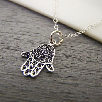 Tiny Hamsa Hand Yoga Charm Sterling Silver Necklace Simple Jewelry / Gift for Her