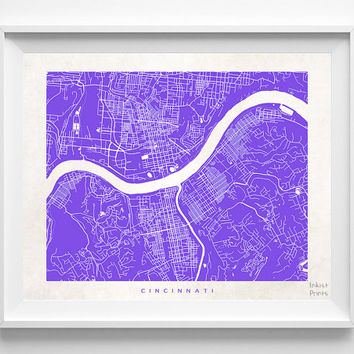 Cincinnati, Ohio, Street Map, World, State, Town, Print, Nursery, Art, Cute, Pretty, Living Room, Poster, Wall Decor, Illustration [NO 487]