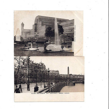 Early 1900's Set of 2 Antique Postcards of London England Scenes, Crystal Palace, Embankment & Cleopatra's Needle, UNPOSTED, Ephemera Travel
