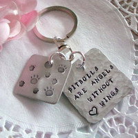 Pitbulls Are Angels Without Wings Hand Stamped Keychain Made to order