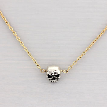 Skull Necklace Tiniest Skull Necklace 14k Gold by TheLuxeGarden