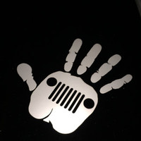 "Jeep Wave Decal (High Quality Vinyl) Approximately 4""x4"". FREE SHIPPING to the USA!!"