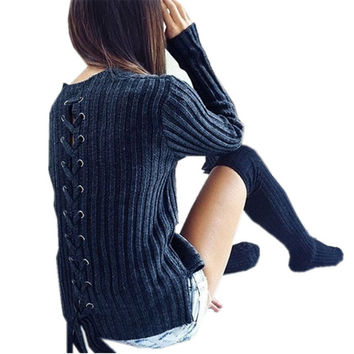 2016 Autumn Winter Fashion Women Blouse Back Lace-Up Sexy Tops Ladies O neck Long Sleeve Side Split Casual Solid Shirts Blusas