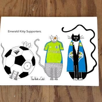 Cat card- Seattle Sounders FC Football Club Soccer Cats Funny Cat Sports Ball Jersey S